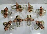 Vintage Style Alleyway Brass Wall Bulkhead Light Fixture And Copper Shade 8 Piece