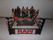 Mattel Wwe Raw Wrestling Ring Arena Spring Loaded 2010 With 6 Wrestlers Awesome