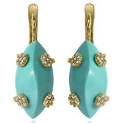 14k Solid Yellow Gold Genuine Diamond And Turquoise Russian Style Earrings E1506