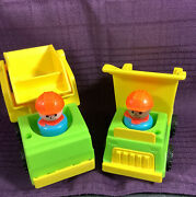 1976 Fisher Price 2 Little People Lift And Load Construction Dump Truck-loader