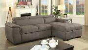 Ash Brown Right Storage Chaise Left Facing Sofa 2pc Sectional Set Tufted Fabric