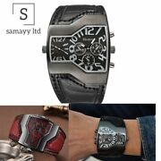 Mens Wrist Watches Wide Band Two Time Zone Pu Leather Wristwatch Antique Vintage