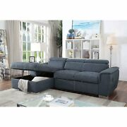 Blue Gray Right Storage Chaise Left Facing Sofa 2pc Sectional Set Tufted Fabric