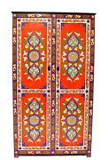 Moroccan Painted Sideboard Buffet Cabinet Red Armoire Wardrobe Cupboard
