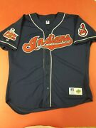 Vintage Cleveland Indians 1995 Al Champions Chief Wahoo Navy Sewn Jersey