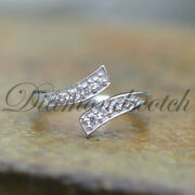 14k White Gold Over 925 Sterling Silver Clear Cz Adjustable Bypass Toe Ring