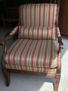 Ethan Allen Roma Bergere Lounge Chair Carving Striped Fabric Maroon Gold Mint