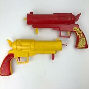 Vintage Tigrett Magic Gun Lot Of 2 - Yellow And Red - Tested Working Rare