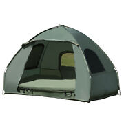 2-person Portable Pop-up Tent Camping Cot With Air Mattress Comfort Sleeping