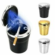 Lighted Cup Holder Car Ashtray Portable Plastic Cylinder W/ Lid And Blue Led Light