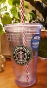 Vtg Starbucks 2009 Double Insulated Clear Tumbler Christmas Holiday 16 Oz