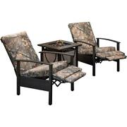 Cedar Ranch 3pc Set 2 Camo Recliners And Sling Fire Pit