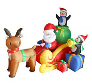 6 Foot Long Christmas Inflatable Santa On Sleigh With Reindeer And Penguins Yard