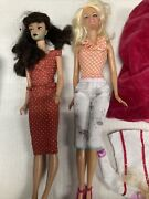 Barbie Dolls And Clothes And Case Used