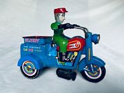 Yoshiya Ko Japan Delivery Motorcycle Tin Toy Blechspielzeug Wind-up Rare