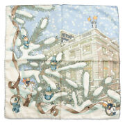 Hermes Kare 45 Noel Au 24 Faubourg Christmas At Fable Silk 100 Blue Scarf _45354