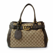 Gg Running Canvas Tote Bag Women And039s 247183 Brown Tea _64839