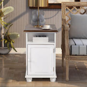 Modern Accent End Table Sofa Side Table With 2 Shelves Living Room Antique White