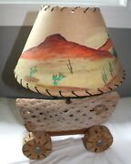 Vintage Mid Century Desert Cactus Cholla Wood Lamp With Hand Painted Shade