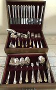 95pc Service For 12 Oneida Golden Julliard Stainless Flatware Gold Accent W/case
