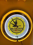 Mcculloch Chainsaw Tree Trimmer Landscaper Man Cave Yellow Neon Clock Sign