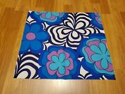 Awesome Rare Vintage Mid Century Retro 70s 60s Blue Pink Flower Stripe Fabric