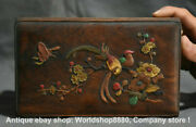 8 Old China Huanghuali Wood Inlay Shell Lark Flower Bird Butterfly Jewelry Box