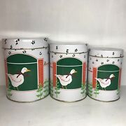Set Of 3 Vintage Nesting Tin Canisters Country Kitchen Goose White W Red Flowers