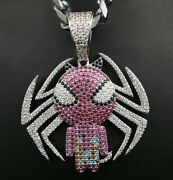 2.2ct Pink Sapphire And Multi Color Diamond Spider Man Pendant 14k White Gold Fn