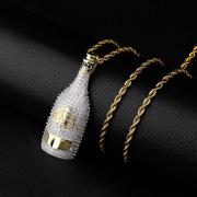 1 Ct Round Diamond Beer Bottle Mens Pendant With Chain 14k Yellow Gold Finish