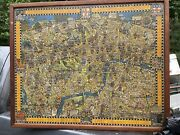 Antique Wonderground Map Of London 1928 Framed W/ No Glass Free Shipping
