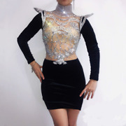 2021 Top Hot Sexy Crystal Ladies Dress Singer Dancer Party Show Dress