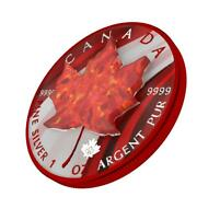 Canada 2020 5 - Maple Leaf - Red Opal - 1 Oz Silver Coin With Real Opal Stone