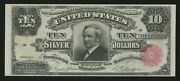 Fr299 10 1891 Silver Cert Tombstone Note Choice Au Wlm9976