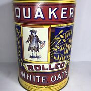 Vintage 1984 Pure Quaker Rolled White Oats Tin Canister 1896 Label Replica