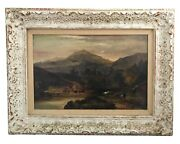 19th C William Williams Of Plymouth 1808-1895 C. 1872 Mountains Oil Painting