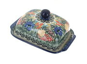 Blue Rose Polish Pottery Summer Blooms Butter Dish