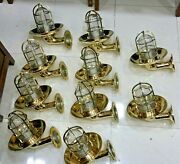 Outdoor Nautical Vintage Style Bulkhead Wall Sconce Light Made Of Brass 10 Piece