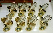 Outdoor Nautical Vintage Style Bulkhead Wall Sconce Light Made Of Brass 8 Piece
