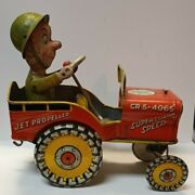 1940's Unique Art Mfg Co.g.i. Joe And His Jouncing Jeepwind Up Tin Toy