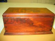 Authentic Burl Wood Jewelry Box Removable Accessory Tray Felt Lined