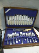 Antique Grosvenor 47 Piece Boxed Canteen Silver Plated Cutlery Set For 6 -1920and039s