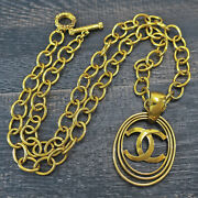 Gold Plated Cc Logos Oval Charm Vintage Necklace Pendant 144c Rise-on