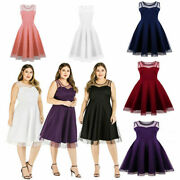 Knee-length Plus Size Women Dresses Cocktail Lace Sleeveless Party Evening Dress