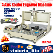 Usb 4axis Cnc 6090gz Router Engraver Carving Drill Machine 2200w Vfd+controller