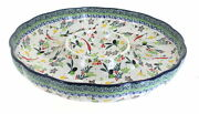 Blue Rose Polish Pottery Red Chili Pepper Chip And Dip Bowl