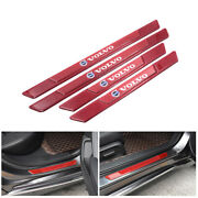 4pcs Red Carbon Fiber Car Door Scuff Sill Cover Panel Step Protector For Volvo
