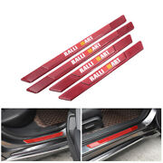 4pcs Ralliart Red Carbon Fiber Car Door Scuff Sill Cover Panel Step Protector