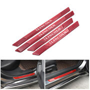 4pcs Lincoln Red Carbon Fiber Car Door Scuff Sill Cover Panel Step Protector
