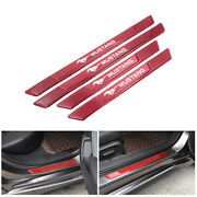 4pcs Red Carbon Fiber Car Door Scuff Sill Cover Panel Step Protector For Mustang